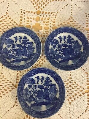 Antique Occupied Japan Blue Willow Childrens Plates Lot Of 3
