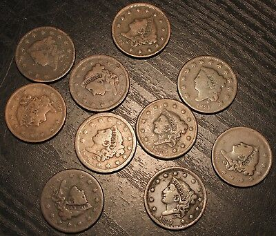 1830 Mixed Lot Of US Large Cents Lot Of 10 Pennies .01 US Coin Rare Coin .01