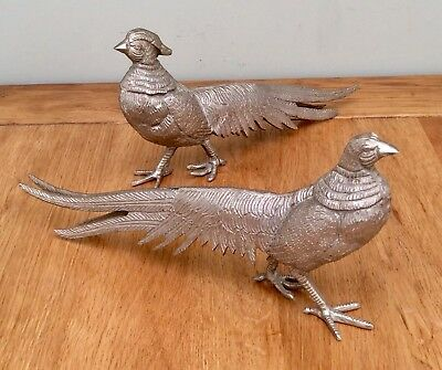 "Large 11"" Antique Silver Plated PEACOCK & PEACOCK HEN Ornaments 1.2 Kg"