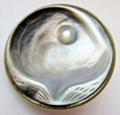 Exceptional LARGE Antique Carved MOP Shell in Metal BUTTON w/ Oyster Pearl (B31)