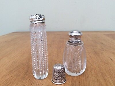 Hallmarked Solid Silver Topped Scent Bottles & Thimble Lond.1930 Birm.1925