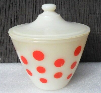 VTG 1950s FIRE KING RED POLKA DOT GREASE JAR WITH LID
