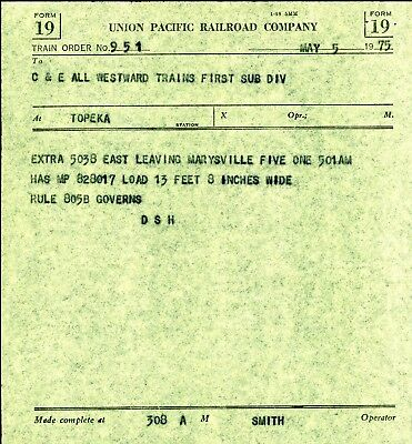 Union Pacific Railway,  May 5, 1975 train order, Topeka, Kansas