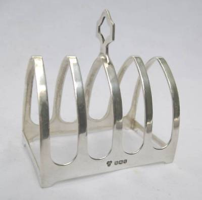 Vintage Sheffield  English Sterling Silver Gothic Revival Toast Rack 1933