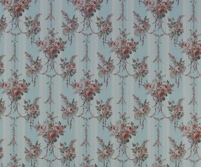 1/12 Scale Chrystina Blue Floral Dollhouse Wallpaper by Mini Graphics #MG187D23