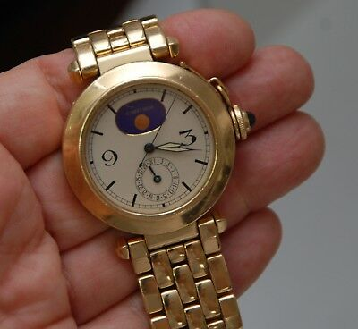 CARTIER 38mm Pasha_Moon Phase Watch_Solid 18K Yellow Gold_Bracelet_Box_W3101