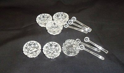 Vintage Pressed Clear Glass Salt Cellar Bowls With Spoons In Box Made In Japan
