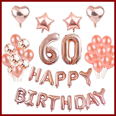 60Th Birthday Decorations ROSE GOLD 60 Foil Balloons Banner Set Party