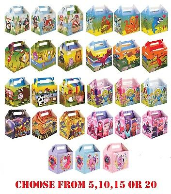 Childrens CHARACTER THEMED Kids Party Food Boxes Filler Food Box Birthday Gift