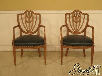 29357E: Pair Vintage Blonde Mahogany Carved Back Shield Chairs w. Leather Seats