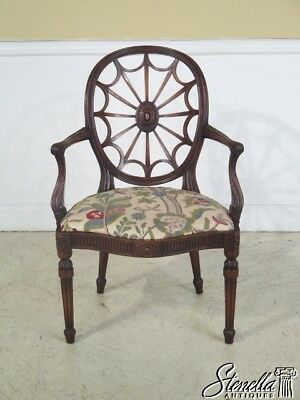 23451: Vintage Web Back Carved Mahogany Arm Chair