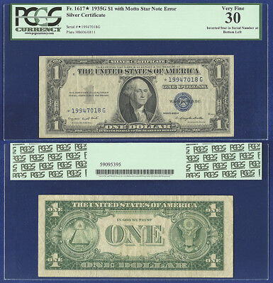 Usa 1935-G With Motto Inverted Star Note Error Pcgs Vf 30