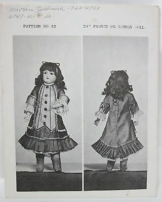 """Carter Craft Doll House Sewing Pattern #33 Period Dress - 24"""" Doll French/German"""