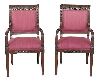 L29511EC: Pair Neoclassical Upholstered Open Arm Chairs w Carved Backs