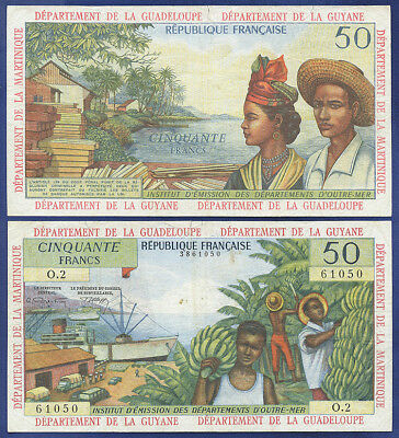 French Antilles 50 Francs 1964 - Very Fine