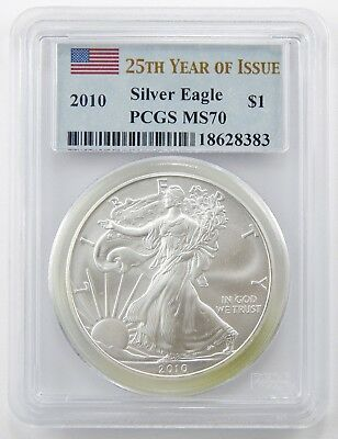 2010 $1 American Silver Eagle 25th Year of Issue PCGS MS70 A6403
