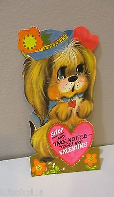 Vtg Valentine Card Mod 70's Big Eyes Puppy Dog Sit Up and Take Notice Unused