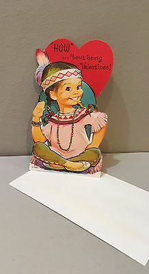 Vtg Valentine Card 70s Pete Hawley Mod Indian Maiden Princess w Envelope UNUSED