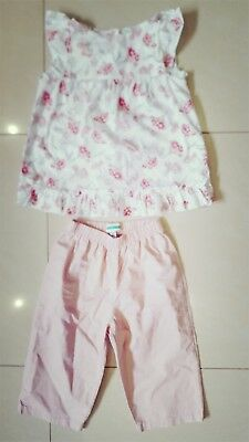 Girls Vertbaudet Pretty Pink Cotton Trouser Suit Size 3 Yrs 94Cm