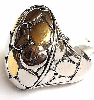 Silver Gold Art Deco Cocktail Ring Plated Two Tone Celtic Cobblestone Size 6 7 9