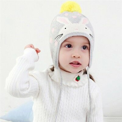 Baby Kids Winter Warm Hat & Scarf Rabbit Printed Knitted Beanie Outdoor Cap New