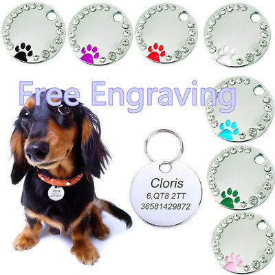 Personalised Engraved 25mm Diamante Paw Print Tag Dog Cat Pet ID Tags Reflective