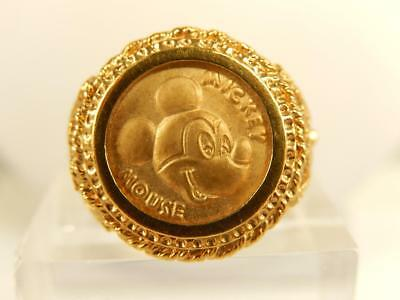 MICKEY MOUSE COIN RING Disney Yellow Gold Color Sz 7 Vintage