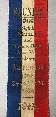 1909 GAR Reunion Ribbon 8th 19th 25th IOWA INFANTRY Washington CIVIL WAR