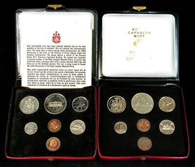 1972 & 1973 Canada Mint Sets - 14 Uncirculated Proof-Like Coins in Holders