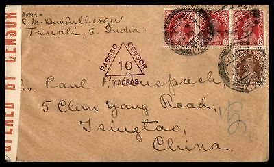 India To china Tsingtao Passed Censor 10 1940s WWII Cover With Arrival Cancel