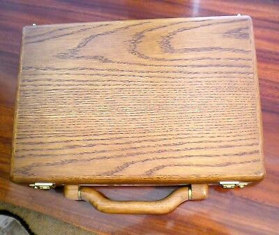 Alaska Airlines Board Room Complimentary Gift Oak Briefcase. 1980's