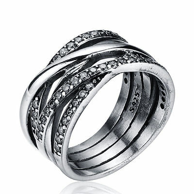 Entwined CZ Sterling Crystals Silver Ring For Lover Anniversary Wedding Jewelry