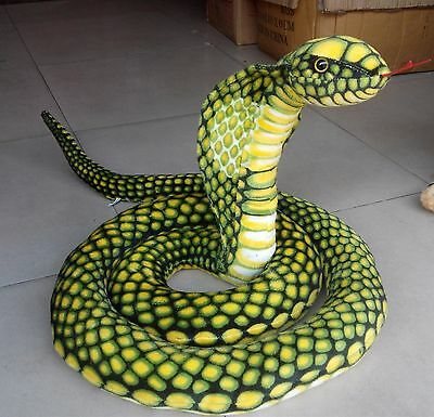 "Stuffed Animal Emulational Anaconda Green Snake King Cobra Plush Toy 110""/2.8m"