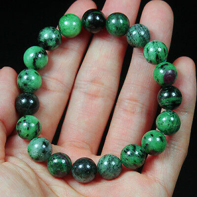 179.55Ct 100% Natural Red Green Bi Color Ruby In Zoisite Beads Bracelet BRG359