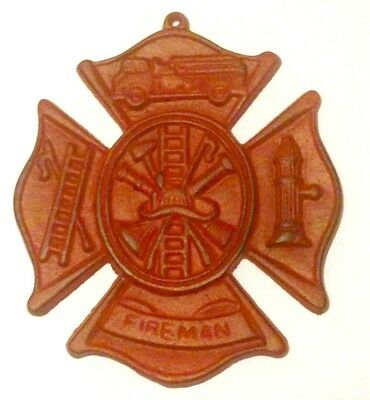 Fireman Plaque Cast Iron Wall Decor Red New Old Fashioned Vintage 8x9 inches