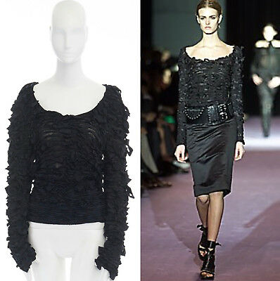 872175c3c4 runway YVES SAINT LAURENT TOM FORD AW01 black bow ribbon scoop neck sweater  S