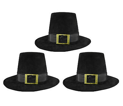 3 PK Deluxe Pilgrim Hat With Buckle Quaker Amish Top Hat Cap Flat Topped Costume