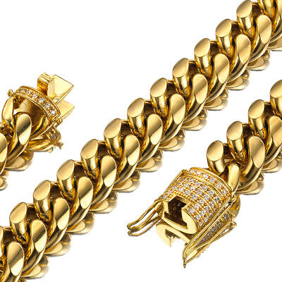 Mens Miami Cuban Link Chain 18K Gold 15mm Stainless Steel Curb Necklace with cz