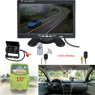 """Wireless 7""""Car Rear View Monitor+Night Vision Backup Camera For RV Truck Trailer"""