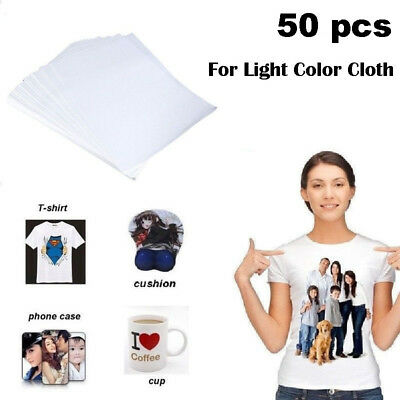"Laser Iron-On Trim Free Heat Transfer Paper, Light fabric 50 Sheets, 8.27""x11.7"""