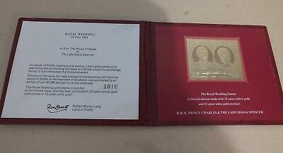 Royal Wedding 29Th Of July 1981 22Ct Gold Stamp Charles And Diana