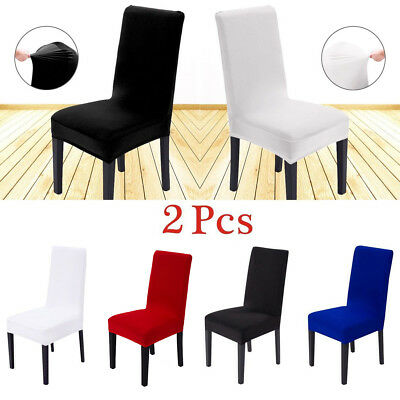 2PCS Removable Stretch Slipcovers Short Dining Room Stool Seat Chair Cover Comfy