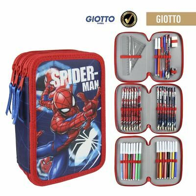 Marvel Spiderman Triple Pencil Case Set - Filled 42 Piece 3 Tier - Red
