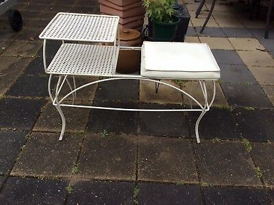 Vintage RETRO 1960's Wrought iron Phone Table /  Hall Table - Melb