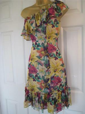 DE143 KAREN MILLEN BNWT UK 8 10 Bright Floral Silk Salsa Frill Summer DRESS
