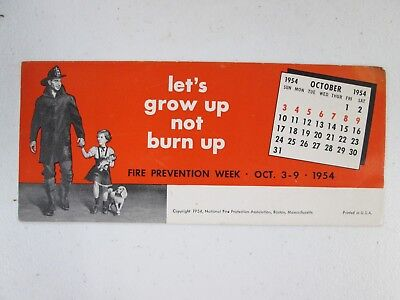 Vintage Ink Blotter Fire Prevention Week Theme 1954