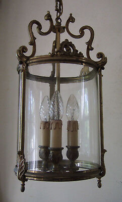 Antique French Large Gilt Bronze & Round Glass  Lantern Chandelier  Light