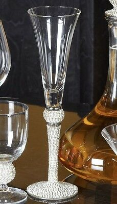 Set of 6 Diamond Glitz Sparkle Champagne Flute Wine Glass Glasses Diamante Stem