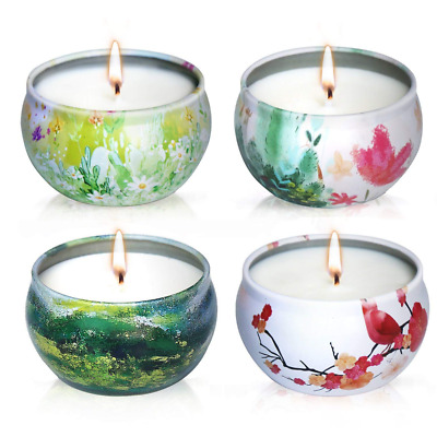 Scented Candles Lavender, Rose, Tea Tree and Peppermint,Natural Soy Wax Portable