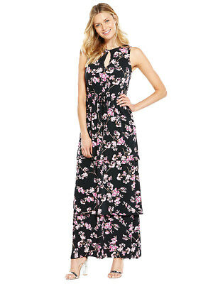 V by Very Tiered Frill Maxi Dress In Blossom Print Size 8
